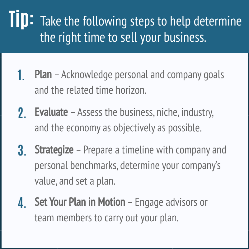 Steps to determine the right time to sell your business