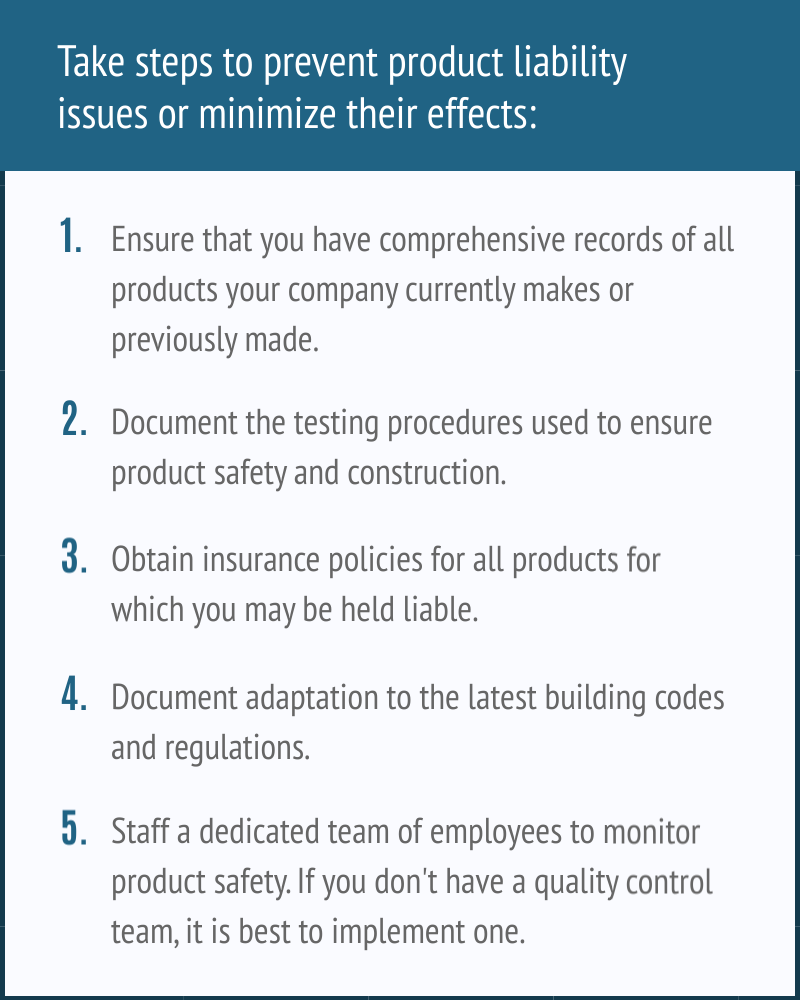 Steps to prevent product liability issues in the building products industry