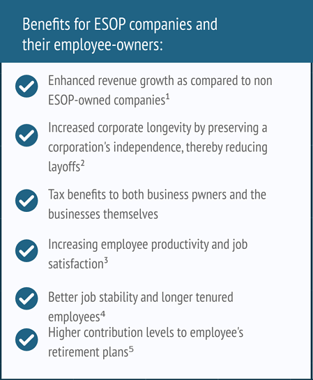 Benefits for ESOP companies and their employee-owners